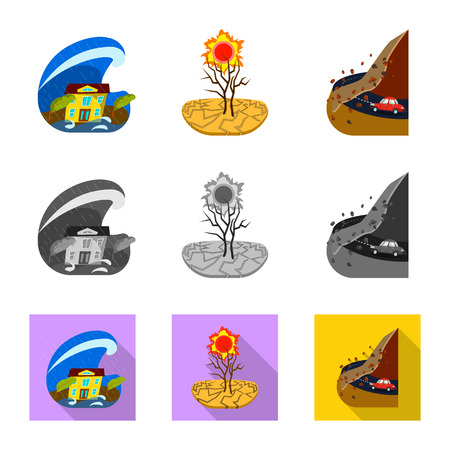 Isolated object of weather and distress sign. Set of weather and crash vector icon for stock. Illustration