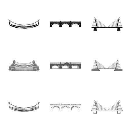 Vector illustration of connection and design symbol. Collection of connection and side stock symbol for web. Ilustração