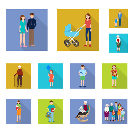 Isolated object of generation  and happy  sign. Set of generation  and avatar  vector icon for stock. Illustration
