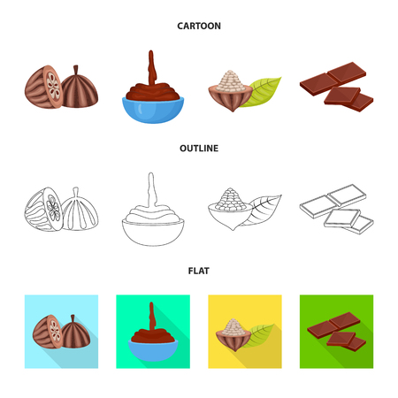 Vector illustration of food and yummy sign. Set of food and brown   stock symbol for web. 向量圖像