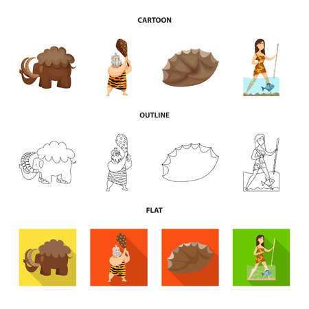Vector illustration of evolution  and prehistory. Set of evolution  and development  vector icon for stock.