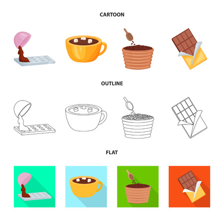 Vector illustration of food and yummy icon. Collection of food and brown vector icon for stock. Vetores