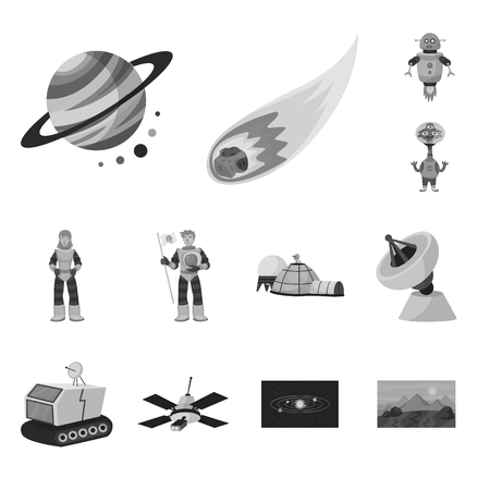 Vector design of universe and travels sign. Set of universe and cosmic vector icon for stock.