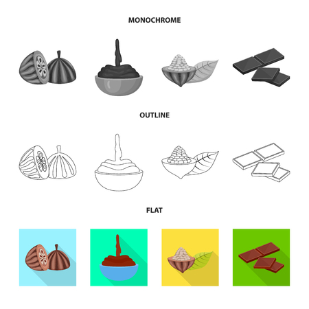 Vector illustration of food and yummy. Collection of food and brown   stock symbol for web. Illustration