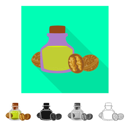Isolated object of walnut and food. Set of walnut and cold vector icon for stock. Ilustrace