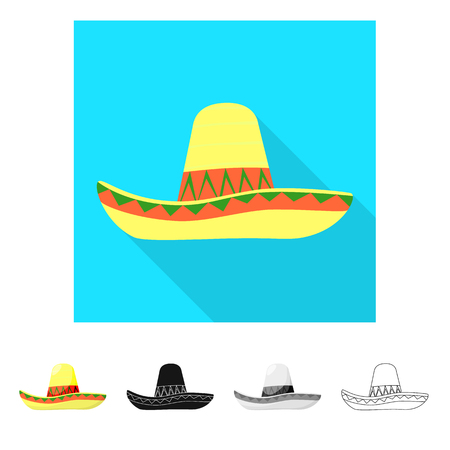 Vector illustration of sombrero and mexican symbol. Set of sombrero and hat stock symbol for web.