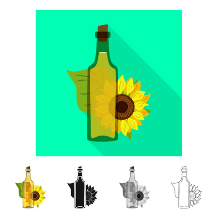 Isolated object of sunflower and food  symbol. Set of sunflower and pure  vector icon for stock. Ilustração