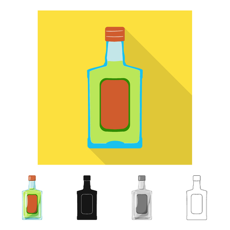 Vector illustration of bottle and alcohol symbol. Collection of bottle and vodka  stock vector illustration. Illustration