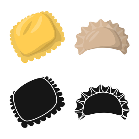 Vector illustration of products  and cooking symbol. Set of products  and appetizer stock symbol for web. Banque d'images - 121108777