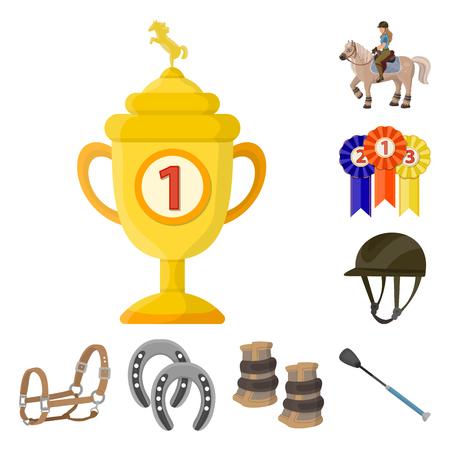 Vector design of horseback and equestrian symbol. Collection of horseback and horse  stock symbol for web. Illusztráció