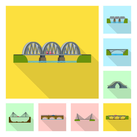 Vector illustration of bridgework and bridge logo. Collection of bridgework and landmark stock symbol for web.