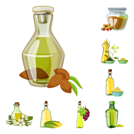 Vector design of bottle and glass  symbol. Collection of bottle and agriculture stock symbol for web.