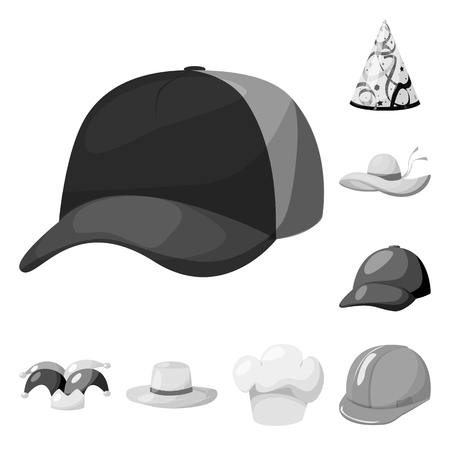 Isolated object of hat and helmet logo. Collection of hat and profession vector icon for stock.