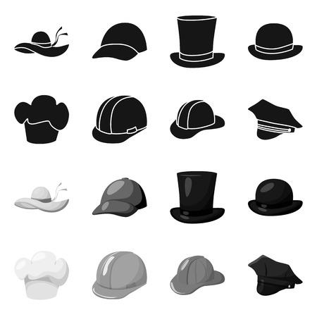 Vectorontwerp van kleding en GLB-pictogram. Set van kleding en baret aandelensymbool voor web. Vector Illustratie