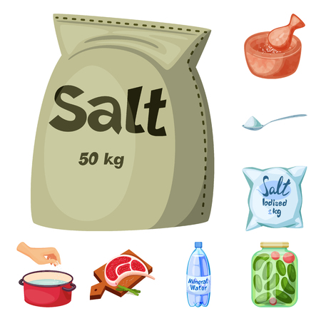 Vector design of salt  and food icon. Set of salt  and mineral  stock symbol for web. Çizim