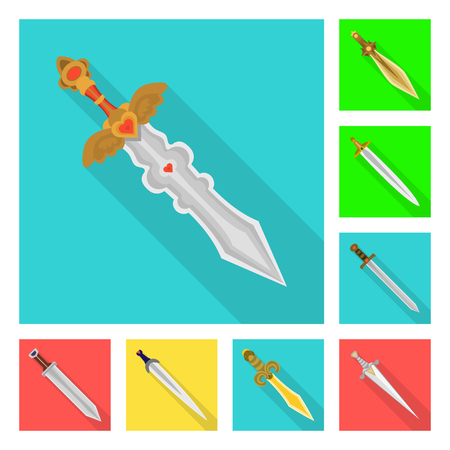 Isolated object of  and sword  icon. Set of  and knife  stock vector illustration.