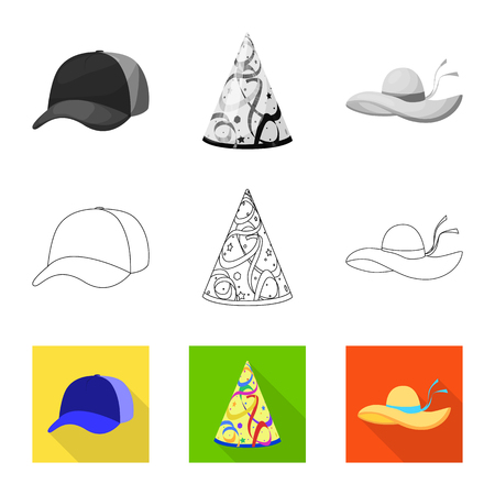Isolated object of clothing and cap icon. Collection of clothing and beret stock symbol for web. Vettoriali
