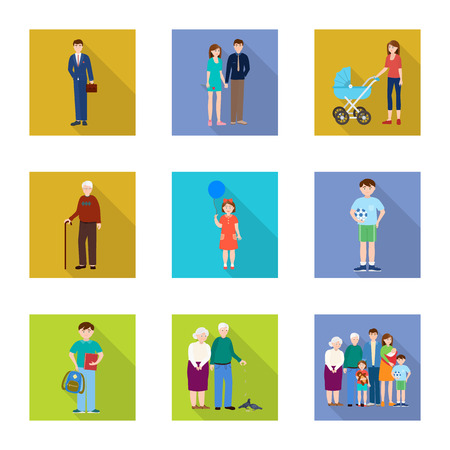 Vector illustration of generation  and happy  symbol. Collection of generation  and avatar  stock vector illustration. Illustration