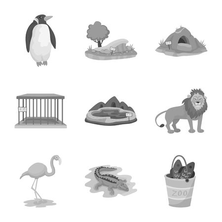 Isolated object of zoo  and park symbol. Set of zoo  and animal stock symbol for web. Banque d'images - 121109310