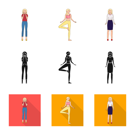 Vector design of posture and mood sign. Collection of posture and female stock symbol for web. 向量圖像