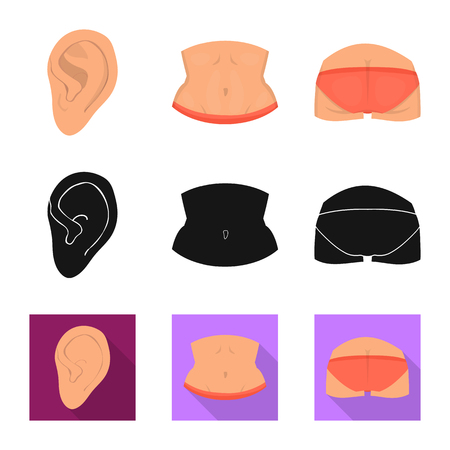 Isolated object of body and part symbol. Set of body and anatomy stock vector illustration. Ilustração