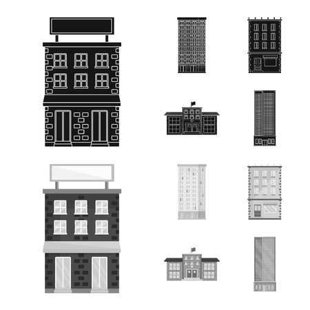 Vector design of municipal and center icon. Collection of municipal and estate vector icon for stock.
