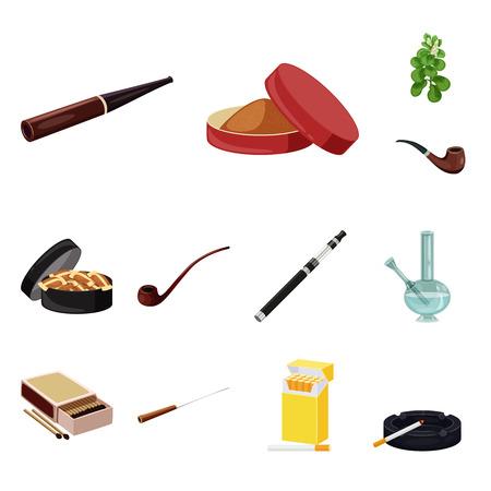 Vector design of cigarette and tobacco icon. Set of cigarette and nicotine stock vector illustration. Çizim