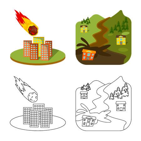 Il design del vettore dell'icona meteo e di emergenza. Set di icone vettoriali meteo e crash per stock.