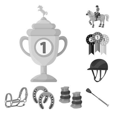 Isolated object of race  and horse  icon. Set of race  and racing  stock symbol for web. 일러스트