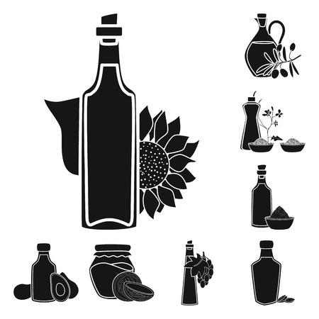 Vector illustration of oil and agriculture sign. Collection of oil and glass  vector icon for stock.