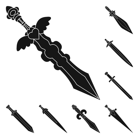 Isolated object of sharp and blade  logo. Collection of sharp and dagger  stock vector illustration.