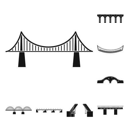 Vector design of construct and side logo. Collection of construct and bridge vector icon for stock.