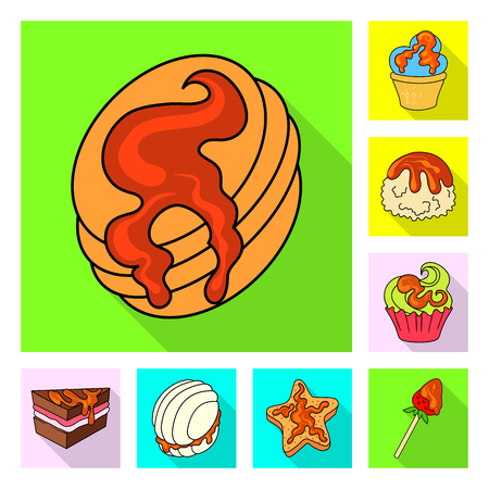 Isolated object of confectionery and culinary symbol. Set of confectionery and colorful stock vector illustration. Векторная Иллюстрация