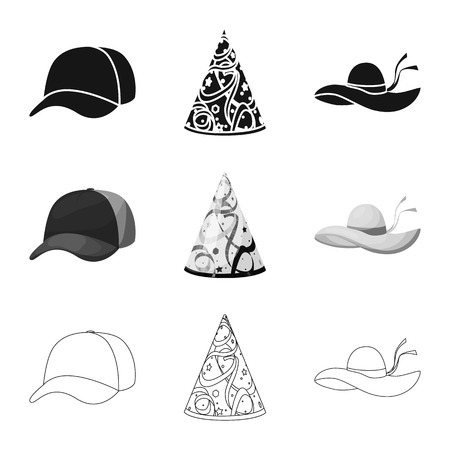 Vector illustration of clothing and cap logo. Collection of clothing and beret vector icon for stock.