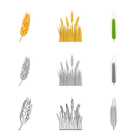 Isolated object of agriculture and farming logo. Collection of agriculture and plant  stock vector illustration.