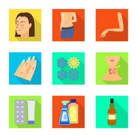 Isolated object of dermatology and disease icon. Set of dermatology and medical  vector icon for stock.  イラスト・ベクター素材