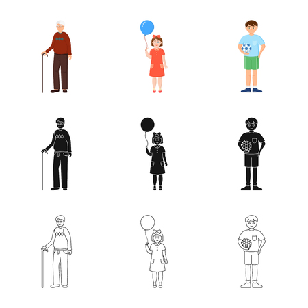 Vector illustration of character and avatar  icon. Collection of character and portrait vector icon for stock. Illustration