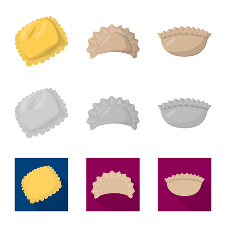 Vector design of products  and cooking symbol. Set of products  and appetizer stock symbol for web.