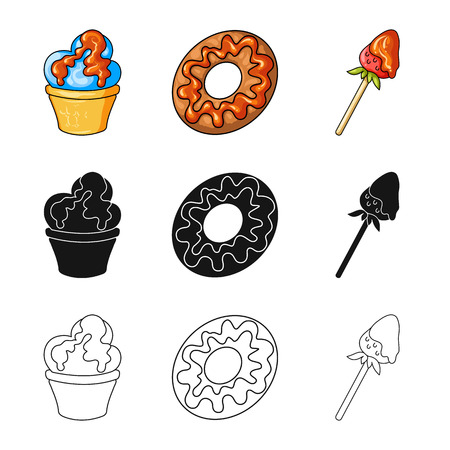 Vector design of confectionery and culinary icon. Set of confectionery and product vector icon for stock.