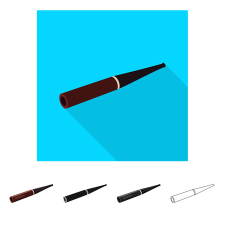 Vector design of cigar and mouthpiece  sign. Set of cigar and classical  stock symbol for web.