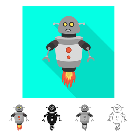 Vector design of robot and program  symbol. Collection of robot and cyborg stock symbol for web.