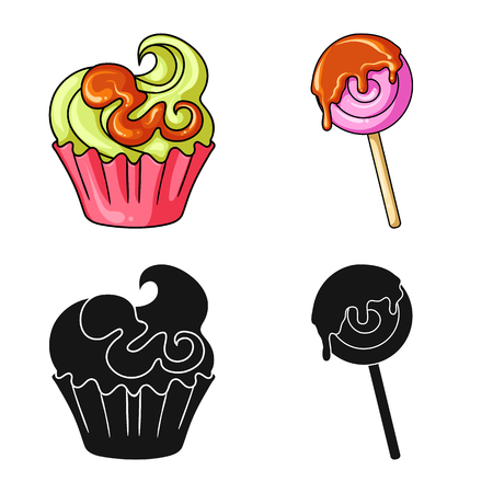 Isolated object of confectionery and culinary icon. Set of confectionery and product stock symbol for web.