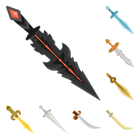 Vector illustration of sword  and dagger  icon. Set of sword  and weapon vector icon for stock. Ilustração
