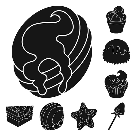 Vector illustration of sweetness and product logo. Set of sweetness and sweet stock vector illustration. Banco de Imagens - 123124413