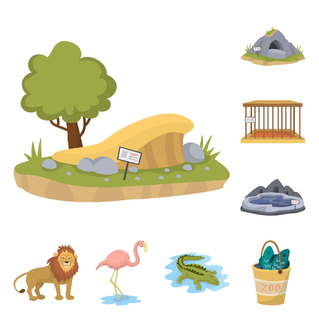 Vector design of zoo  and park sign. Set of zoo  and animal vector icon for stock.