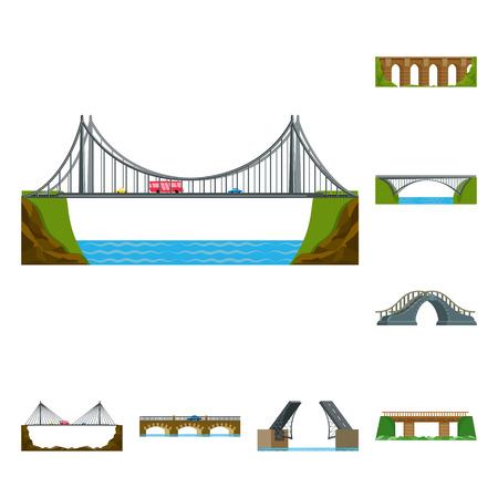 Isolated object of bridgework and bridge logo. Collection of bridgework and landmark stock vector illustration.