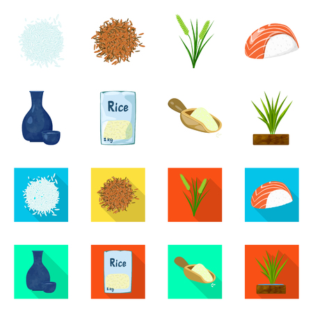 Isolated object of crop and ecological symbol. Collection of crop and cooking stock vector illustration.