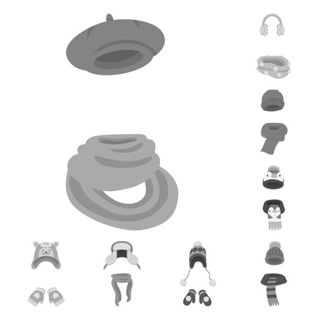 Isolated object of headwear  and fashion  logo. Set of headwear  and cold vector icon for stock. Illustration