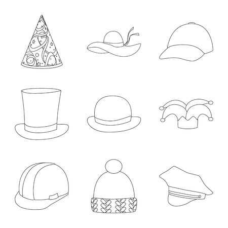 Isolated object of headgear and napper logo. Set of headgear and helmet vector icon for stock. Vettoriali