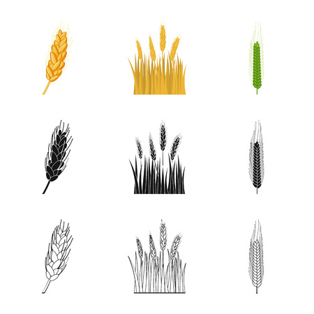 Illustrazione vettoriale del logo agricoltura e allevamento. Insieme di simbolo di borsa di agricoltura e pianta per il web.